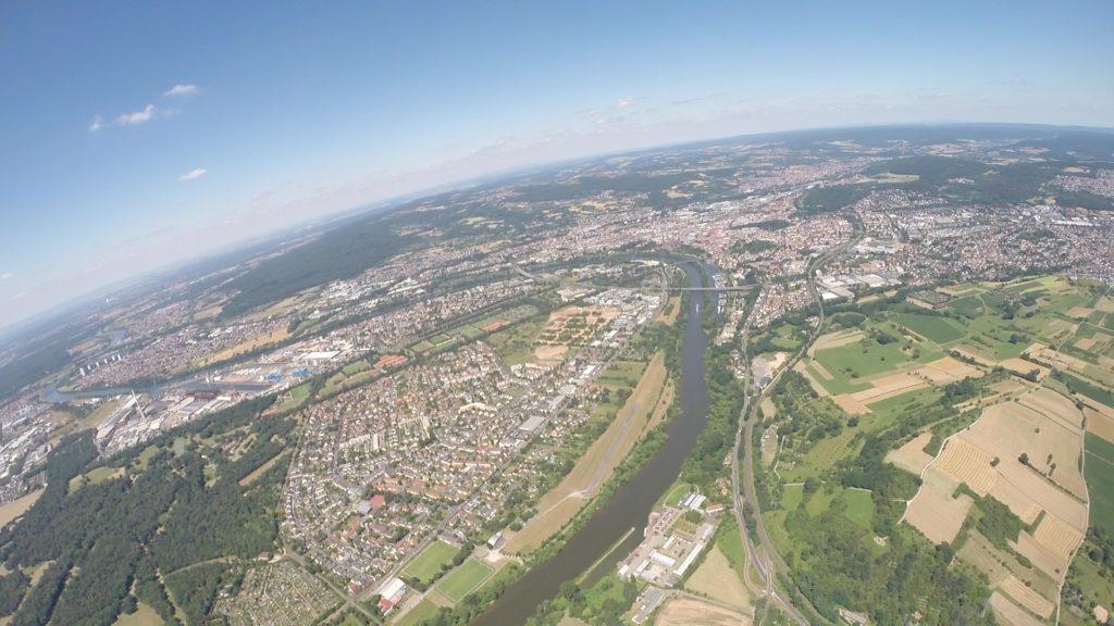 Gleitschirmfliegen über Aschaffenburg